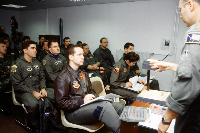 A pre-flight briefing is given for members of the 2nd Airlift Squadron, 23 AW ACC, from Pope AFB, N.C., along with members of the 2nd Squadron Ramstein AFB, Germany. An exploding mortar round hit the market killing 63 people and wounding 206 others. At the request of the United Nations, aircraft from Rhein-Main AB, Germany, were sent into Sarajevo to airlift the wounded to Ramstein AB, Germany. Once at Ramstein AB, Germany the wounded were transported by medical bus to the Army Regional Medical Center in Landstuhl