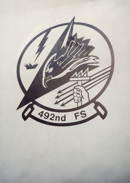 A close-up of one of the unit emblems of the 492nd Fighter Squadron which are on the F-15E aircraft which just landed. The emblem was created in anticipation of the United Nations decision to launch air strikes against Serbians in Bosnia
