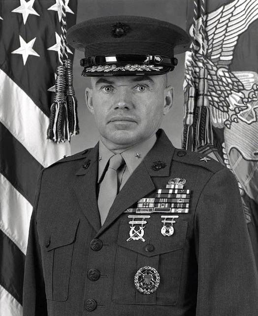 A blasc & whit Official PHOTO of US Marine Brigadier General David F. Bice. This image was taken on February 25th, 1994, at Marine Corps Base, Camp Smedley D. Butler, Okinawa, Japan