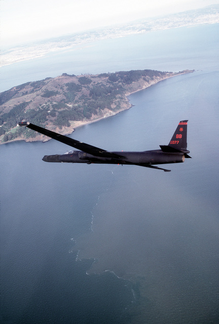 U-2R reconnaissance aircraft soars over San Francisco Bay. Exact Date Shot Unknown . Published in AIRMAN Magazine, May 1994