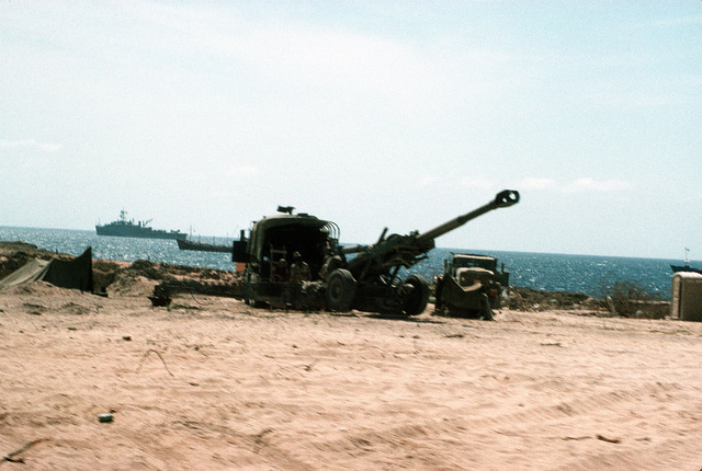 A U.S. Army M-155 Howitzer sits waiting and ready at a camp adjacent to Green Beach near the Mogadishu International Airport as all U.S. forces prepare for the March 25th troop withdraw from Somalia
