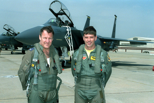 Brig. GEN. Benjamin Zin, (left) Iraeli Air Force Attache, and CAPT. Todd Boyd, 336th Fighter Squadron, pose in front of an F-15E. The 4th Wing played host to officers from the Iraeli Air Force. MAJ. GEN. Herzel Bodinger, Commander of the Iraeli Air Force and Brig. GEN. Benjamin Zin, were invited by GEN. Loh, Air Combat Command Commander. During the Israeli officers' eight hour visit they were briefed on the F-15E capabilities