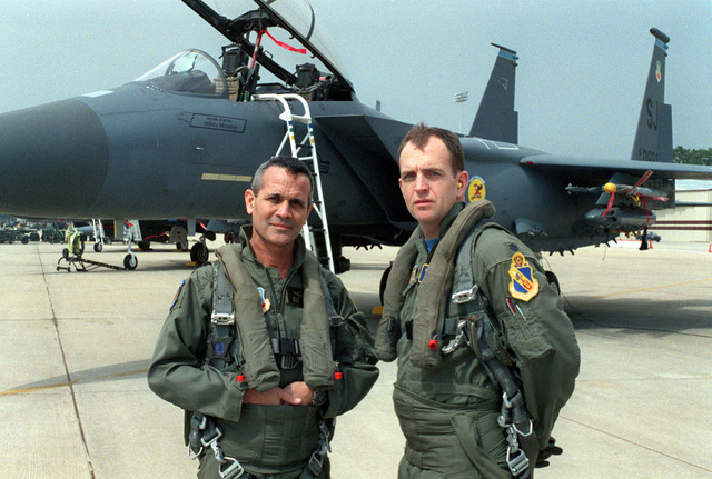 MAJ. GEN. Herzel Bodinger, Israeli Air Force Commander, and LT. COL. Ralph Jodice, 334th Fighter Squadron Commander, pose in front of an F-15E. The 4th Wing played host to officers from the Iraeli Air Force. MAJ. GEN. Herzel Bodinger, Commander of the Iraeli Air Force and Brig. GEN. Benjamin Zin, were invited by GEN. Loh, Air Combat Command Commander. During the Israeli officers' eight hour visit they were briefed on the F-15E capabilities
