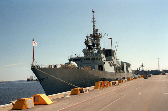 A port bow view of the Canadian frigate HMCS MONTREAL (FFH-336) tied up at the naval station for a port visit