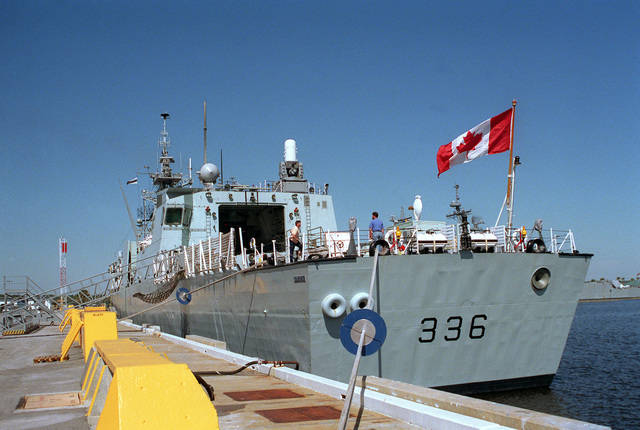 A port quarter view of the Canadian frigate HMCS MONTREAL (FFH-336) tied up at the naval station for a port visit