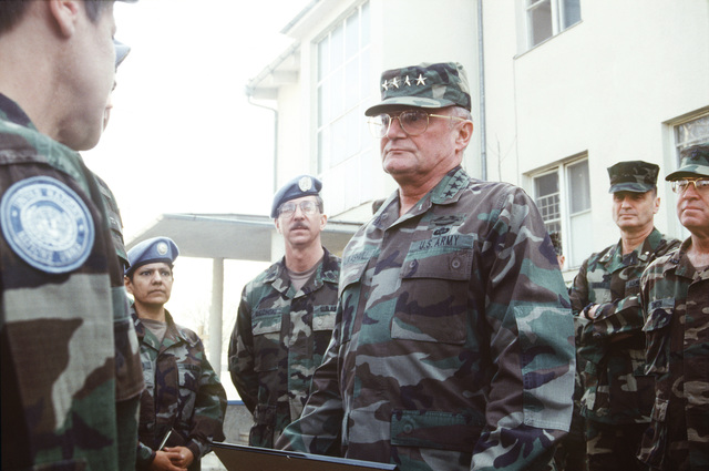 General John M. Shalikashvili, chairman of the Joint Chiefs of STAFF and BG James L. Jones tour the United Nations Protection Force Base, Camp Pleso, located near Zagreb, Croatia during their visit to the former Republic of Yugoslavia in support of Operation Provide Promise