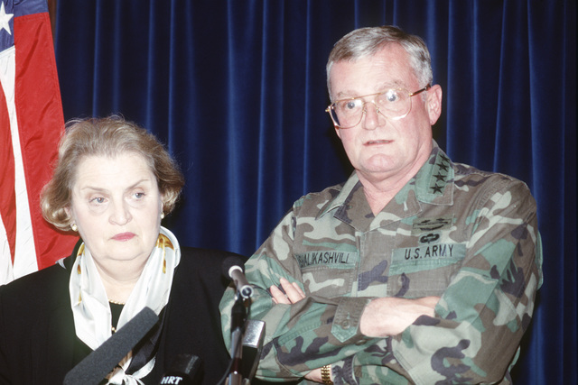 General John M. Shalikashvili, chairman of the Joint Chiefs of STAFF, and Madeleine Korbel Albright, US Ambassador to the United Nations, holds a joint press conference at the airport in Zagreb, Croatia during their visit to the former Republic of Yugoslavia in support of Operation Provide Promise