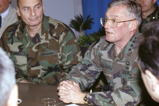 General John M. Shalikashvili, chairman of the Joint Chiefs of STAFF, accompanied by BG James L. Jones, chief of staff Joint Task Force Provide Promise, meet with Heads of State and UN military commanders in support of Operation Provide Promise
