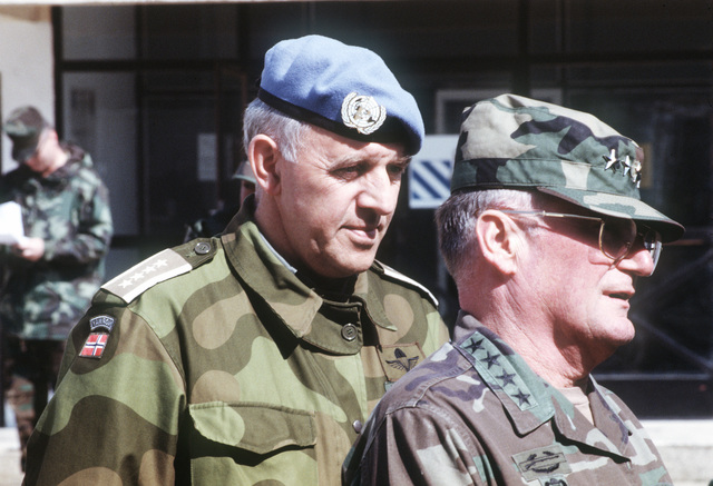 General John M. Shalikashvili, chairman of the Joint Chiefs of STAFF, accompanied by Norwegian BG Tellefsen, tour Camp Able Sentry located near Skopje, Macedonia in support of Operation Provide Promise
