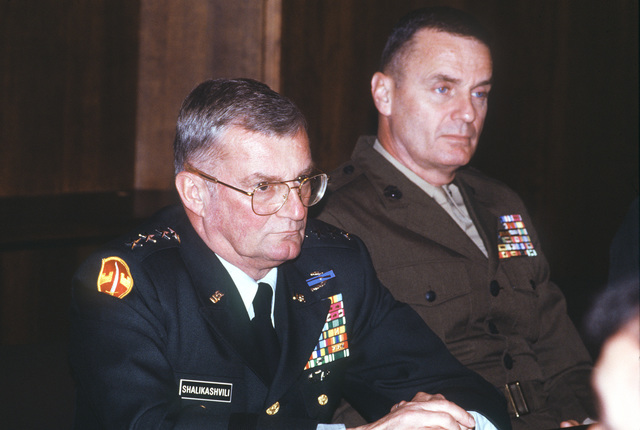 General John M. Shalikashvili, chairman of the Joint Chiefs of STAFF and BG James L. Jones, CHIEF of STAFF, Joint Task Force Provide Promise attend meetings with Heads of State and UN military commanders during their visit to the former Republic of Yugoslavia in support of Operation Provide Promise