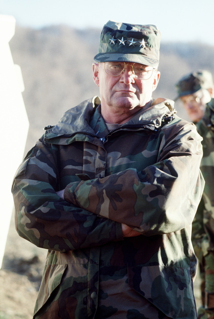 General John M. Shalikashvili, chairman of the Joint Chiefs of STAFF, tours observation posts in Macedonia in support of Operation Provide Promise