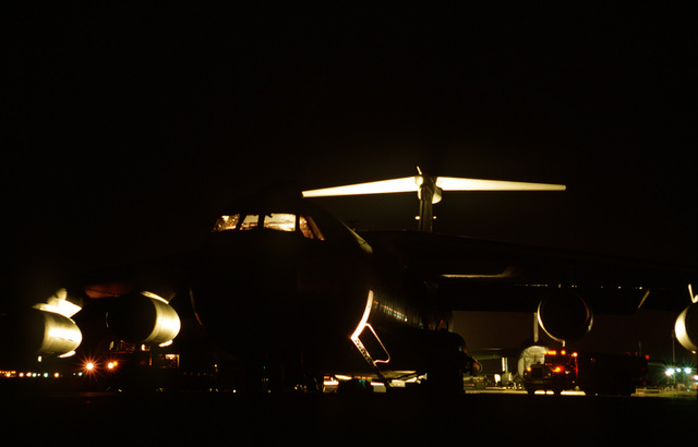 C-141B from the 438th Airlift Wing, McGuire Air Force Base, NJ, on the ramp being refueled