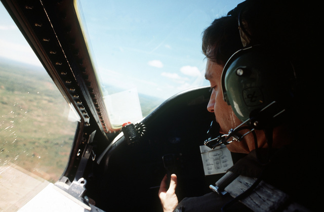 Interior view of cockpit of CAPT. David G. Wheeler, pilot of the C-141B from the 438th Airlift Wing, McGuire Air Force Base, NJ, in flight