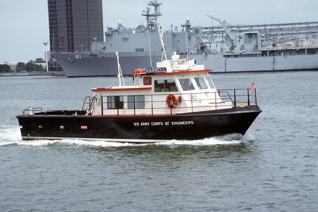 A starboard bow view of the U.S. Army Corps of Engineers service craft HARRELL underway near Norfolk