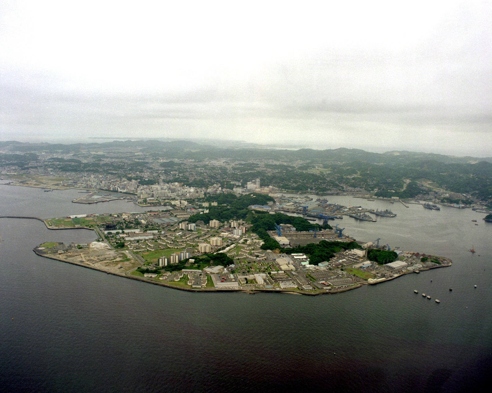 An aerial view of the Yokosuka Naval Base looking south