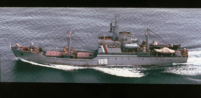 Aerial port side view of the Russian Maritime Border Guard Neon Antonov class cargo ship Ivan Yevteyev (105) underway
