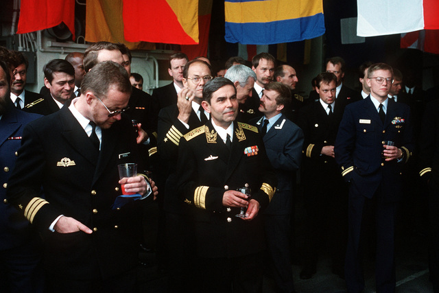 Officers from 15 nations attended a reception on board the destroyer USS HAYLER (DD-997) hosted by Commander, Destroyer Squadron 14 (DesRon 14) during a port visit as part of BALTOPS 94. In the center is Russian Vice Admiral Victor Litinov, Deputy Commander, Baltic Fleet. Exercise Baltic Operation '94 is a U.S. sponsored exercise
