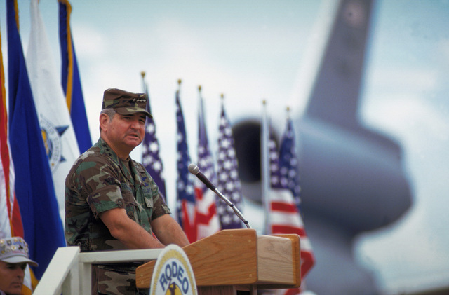 GEN. Ronald Fogelman speaks during the opening ceremonies for RODEO '94 at McChord AFB, Washington