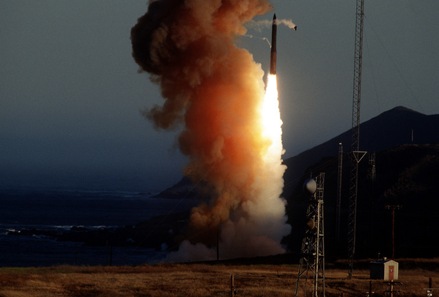 A Minuteman III missile is test launched from Launch Facility 04. The missile traveled approximately 4200 miles in twenty minutes to the Kwajalein Missile Range in Marshall Islands. The test is conducted to prove the reliability of land based nuclear missiles