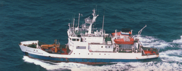 An aerial port side view of the Russian Vice Admiral Popov class small meteorological reporting ship IGOR MAKSIMOV underway in the Western Pacific area