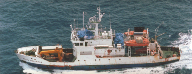 An aerial port side view of the Russian Vice Admiral. Popov class small meteorological reporting ship IGOR MAKSIMOV operating in the Western Pacific area