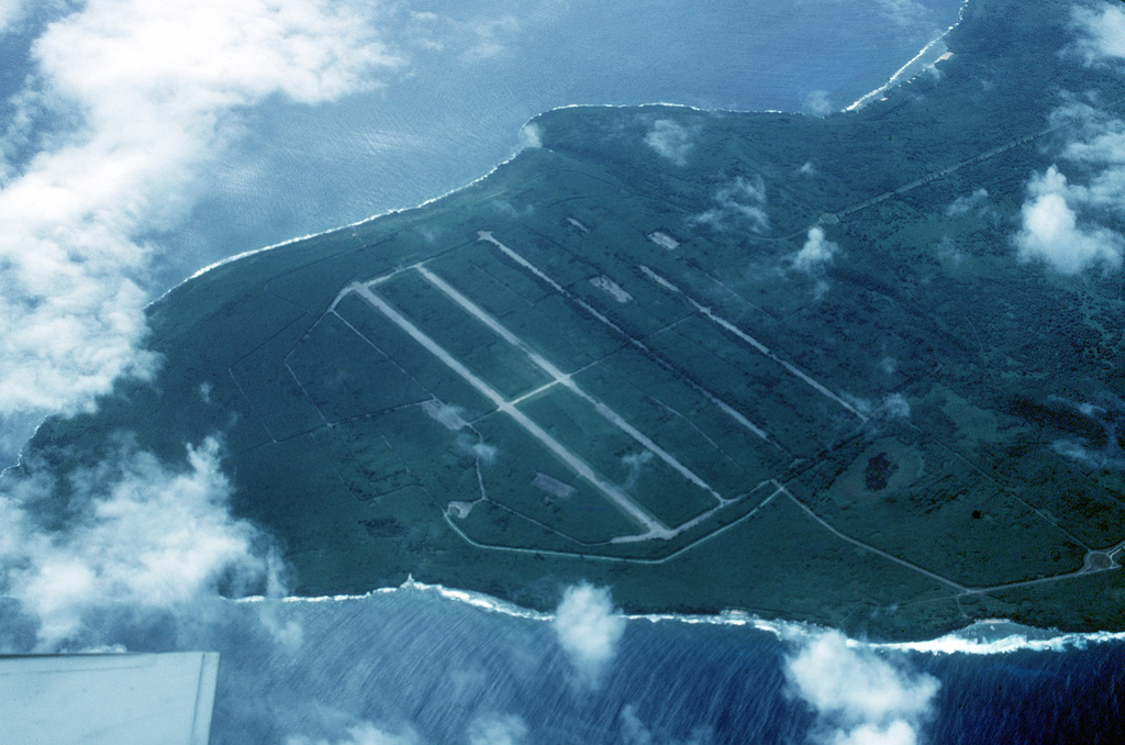 An aerial view of the USAAF North Field on Tinian Island. It was from here in World War Two that B-29 bombers flew long range missions against mainland Japan. Both the missions to Hiroshima and Nagasaki originated from this airstrip nearly half a century ago