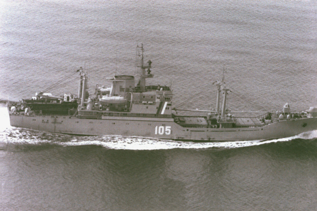 An aerial starboard side view of the Russian Maritime Border Guard Neon Antonov class cargo ship IVAN YEVIEYEV operating in the Western Pacific area