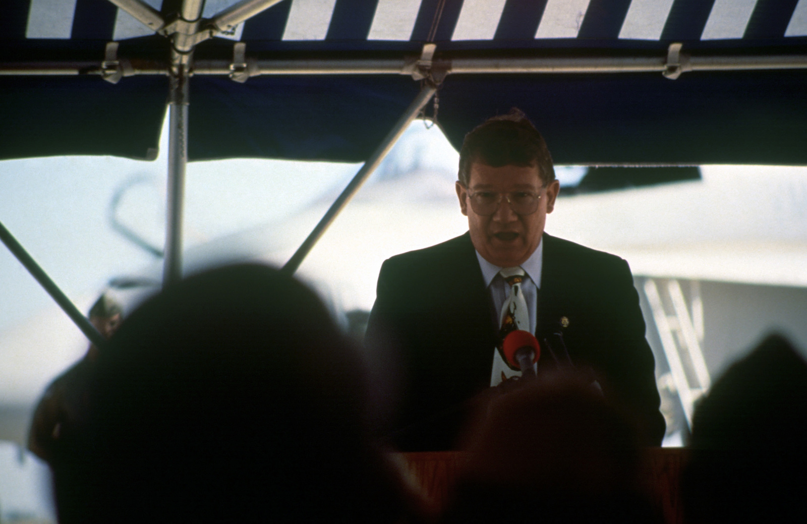 Representative Randy (Duke) Cunningham (R-California) addresses the audience during the ceremony welcoming Marines to their new home at Naval Air Station (NAS) Miramar, California (CA)