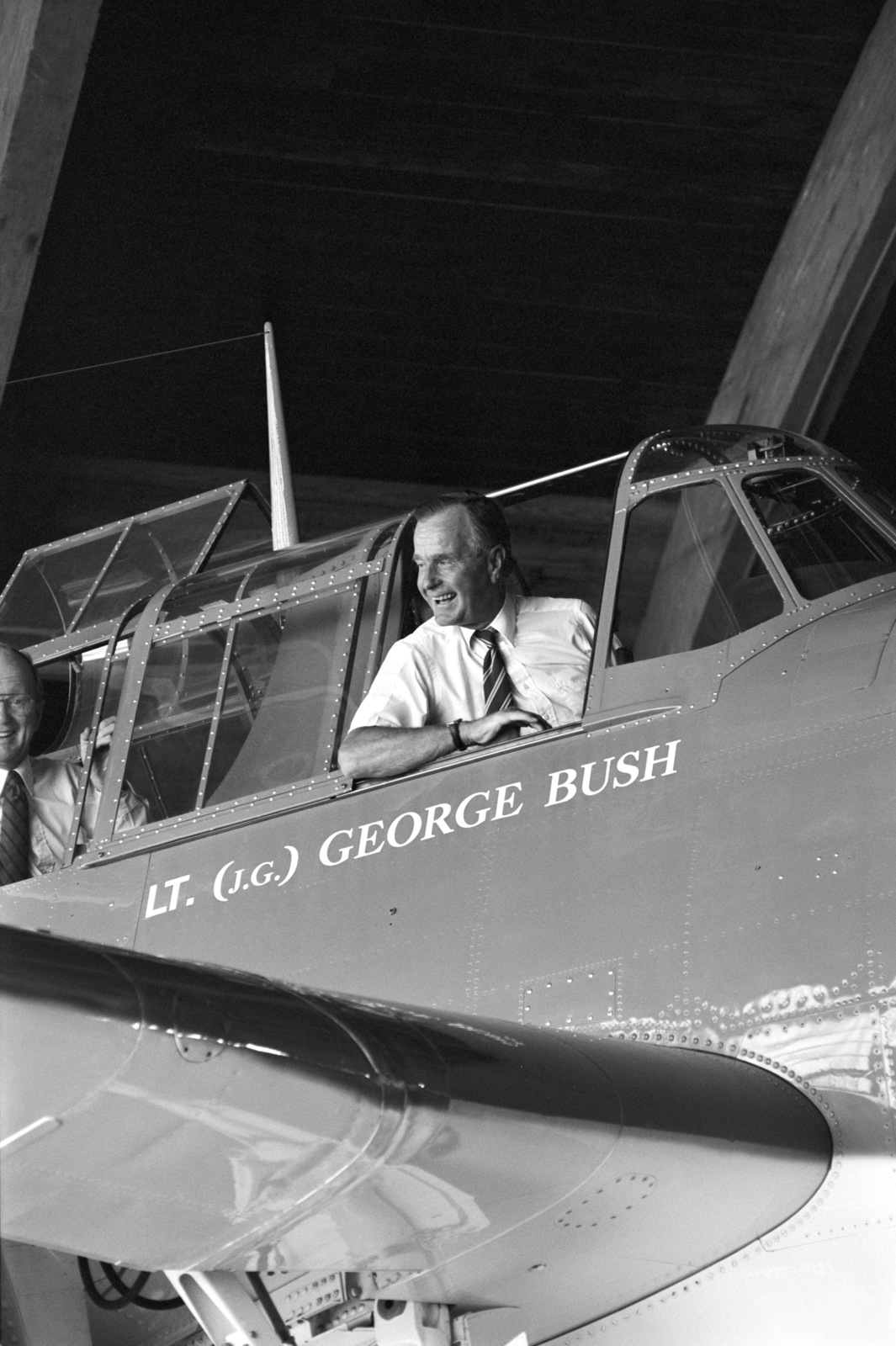 Former U S President George H W Bush Sits In The Cockpit Of A