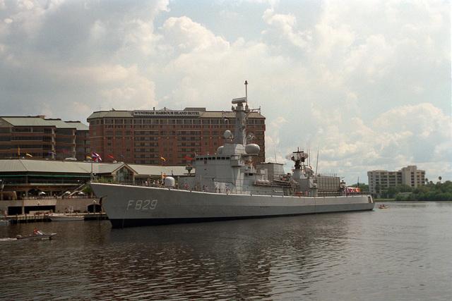 A port bow view of the Netherlands Navy frigate HrMs Willen Van Der Zaan (F-829) during a port visit