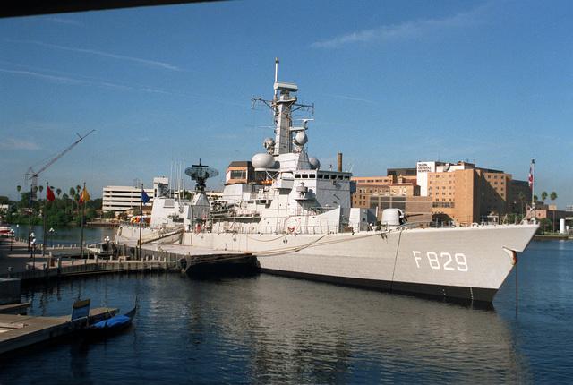 A starboard bow view of the Netherlands Navy frigate HrMs Willen Van Der Zaan (F-829) during a port visit