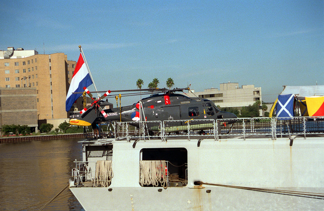 An SH-14AB Sea Lynx helicopter tied down on the helo landing pad of the Netherlands Navy frigate HrMs Willen Van Der Zaan (F-829) during a port visit