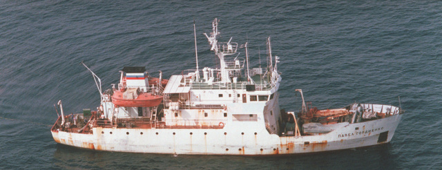 An aerial starboard side view of the Vice Admiral Popov class small hydrometerological reporting ship PAVEL GORDIENKO operating in the Western Pacific area