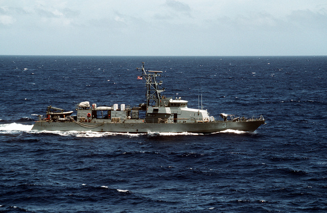 The USS HURRICANE (PC-3) underway off the coast of Haiti operating with other U.S. ships in support of Operation Restore Democracy