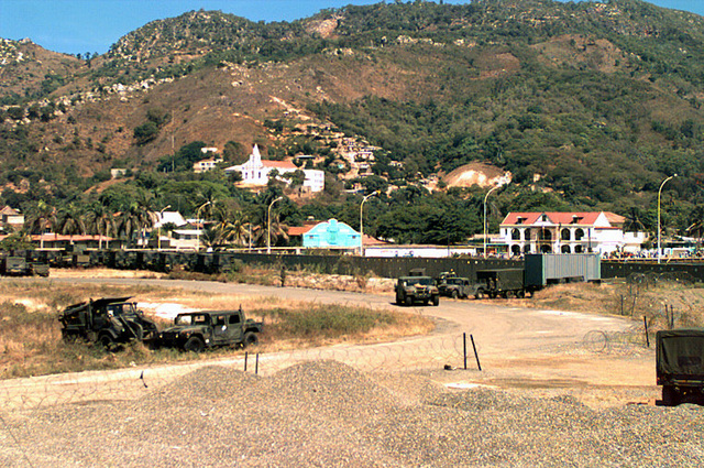 This land area of the port of Cap Haitian is being used as the special Marine Air Ground Task Force (MAGTF) Command and Control area of operation