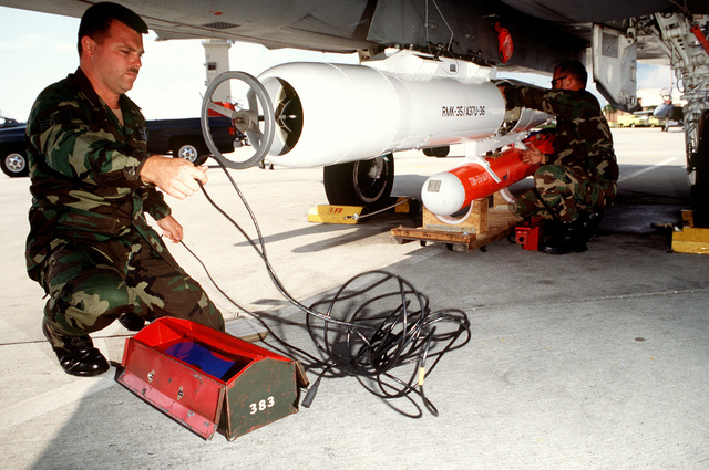 STAFF SGT. James Wilson (left) and TECH. SGT. Jim Prescott (right) mount an Aerial GUNNERY Target Set (AGTS-36) beneath a specially modified F-15 Eagle fighter aircraft from the 325th Fighter Wing. The aircraft is used to tow the gunnery targets that competing air crews will fire upon with 20mm ammunition.(Exact date unknown)