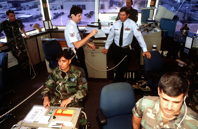 Air Traffic Controllers in the control tower monitor flight operations during competition William Tell '94