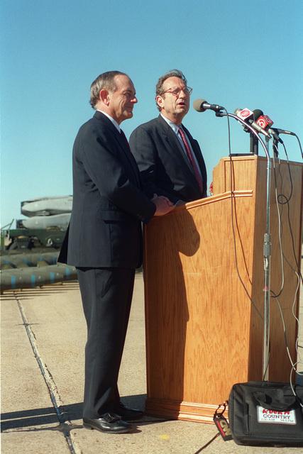 Undersecretary of Defense Dr. John M. Deutch and Louisiana Congressman Jim McCrey speak during the viewing of the B-52