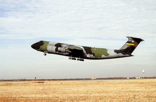 A C-5 galaxy from Travis AFB, CA, taking off from the deployed location for the operation.(Exact date unknown)