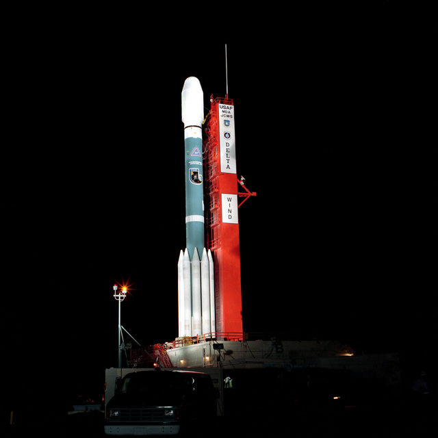 A DELTA II sits poised on Complex 17B at Cape Canaveral Air Station ready to carry NASA's Wind Satellite into orbit