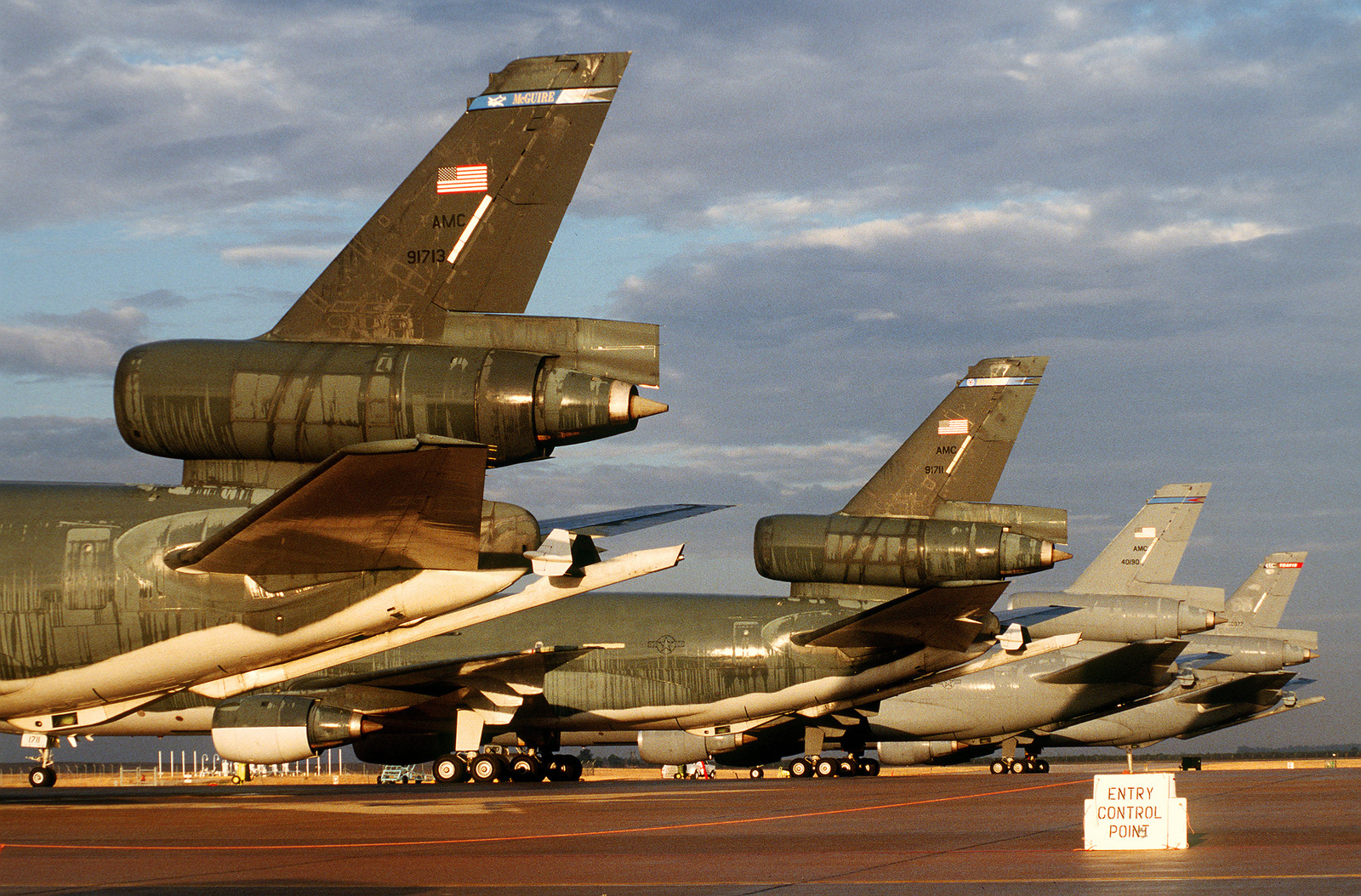 KC-10s deployed in support of the operation from various US Air Force bases sit on the flightline between refueling missions.(Exact date unknown)
