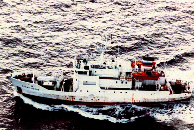 Aerial port side view of the Russian research ship VADIM POPOV underway