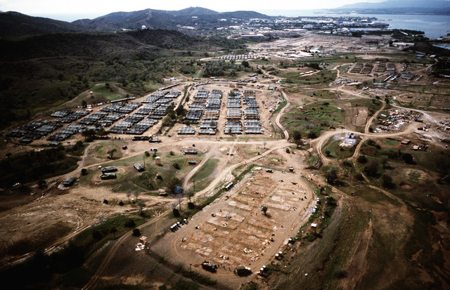 An aerial view of Camp Papa which was built on the Naval Base golf course. It is now being vacated, and its occupants are being moved to McCalla Air Field. The few remaining Cubans migrants living there will make the move to McCalla Field as soon as there is room