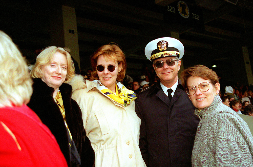 CHIEF of Naval Operations Admiral Jeremy M. Boorda and his official party are shown seated in the crowd at the annual Army-Navy football game at Veteran's Stadium