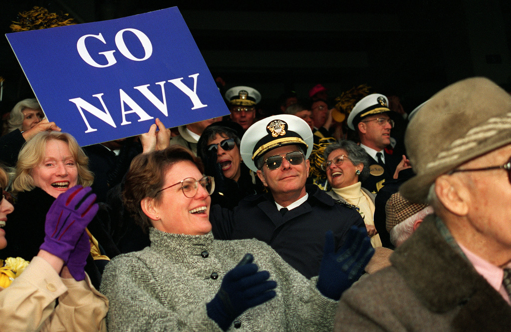 CHIEF of Naval Operations Admiral Jeremy M. Boorda is shown seated in the stands at the annual Army-Navy football game at Veteran's Stadium