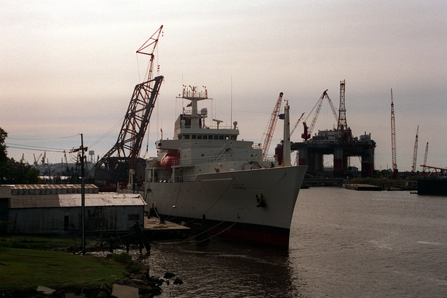 A starboard bow view of the Military Sealift Commands oceanographic Survey Ship USNS Pathfinder (T-AGS-60) tied up at the fitting out pier at the Avondale Industries, Inc. shipyard