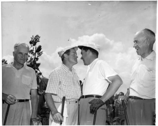 Richard Nixon, Bob Hope, Bill McClure, and General Omar Nelson Bradley play golf. Nixon and Hope face one another
