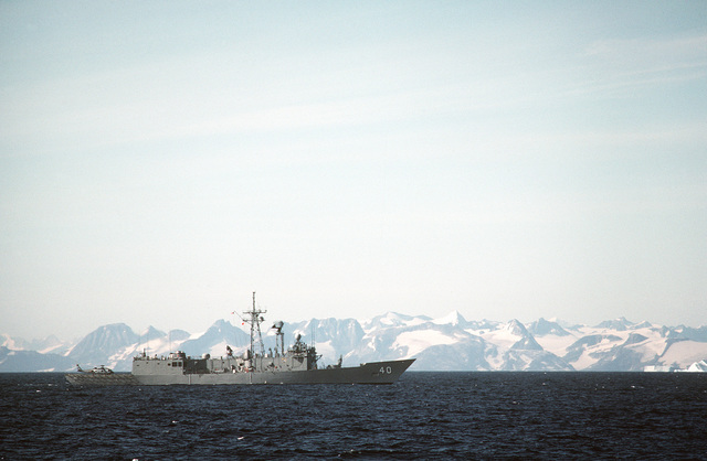 A starboard beam view of the guided missile frigate USS HALYBURTON (FFG-40) during exercise Ocean Safari '85