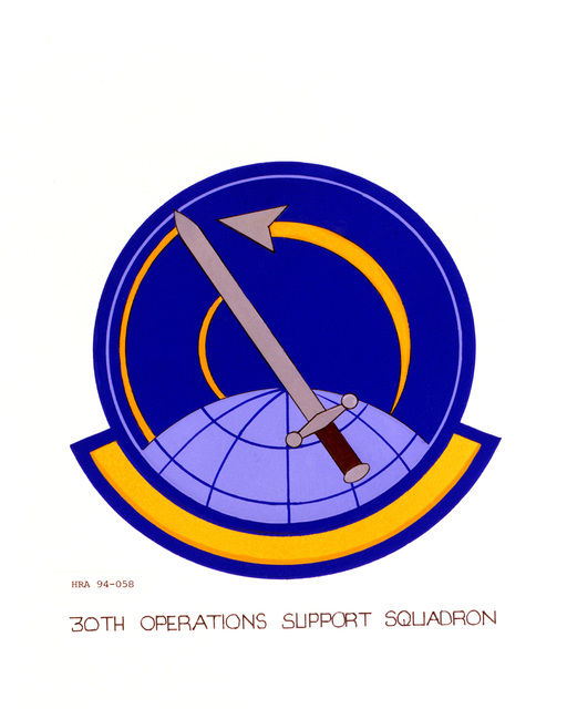 Approved Insignia of the 30th Operations Support Squadron.EXACT DATE SHOT UNKNOWN