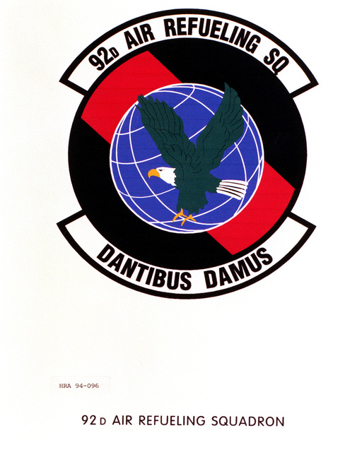 Approved Insignia of the 92nd Air Refueling SquadronEXACT DATE SHOT UNKNOWN